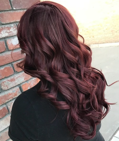Long Curly Burgundy Hair