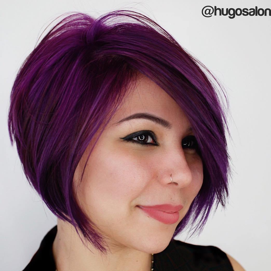 Purple Side-Parted Bob