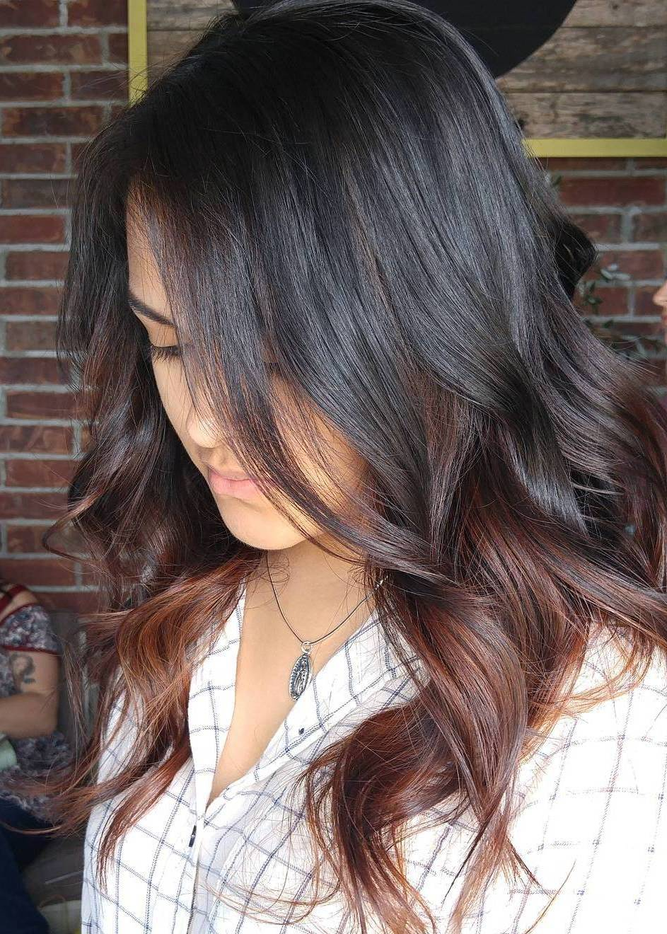 Black hair with blonde ends - To Toned Brown Hair