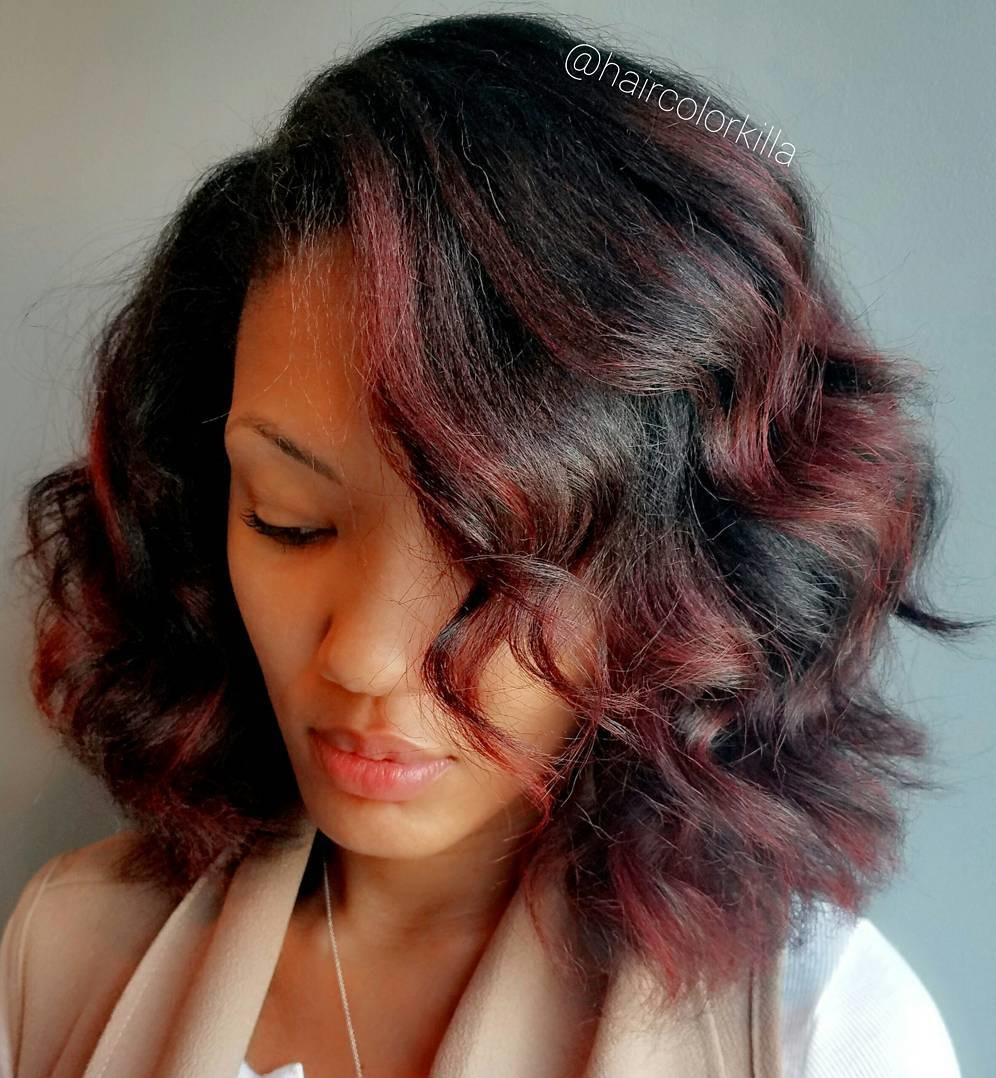 Black Wavy Bob With Burgundy Highlights