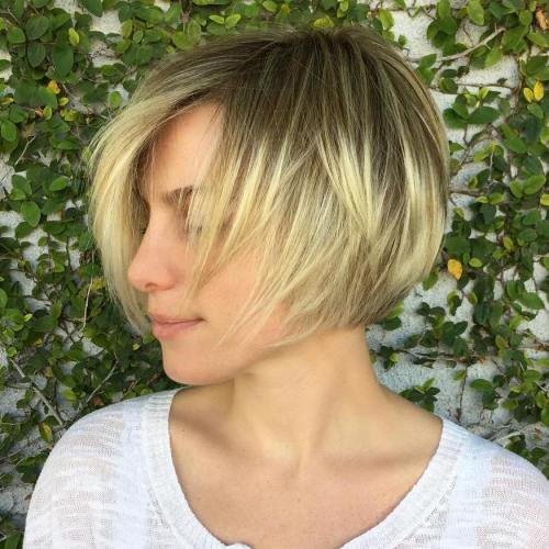 Blonde Balayage Layered Bob