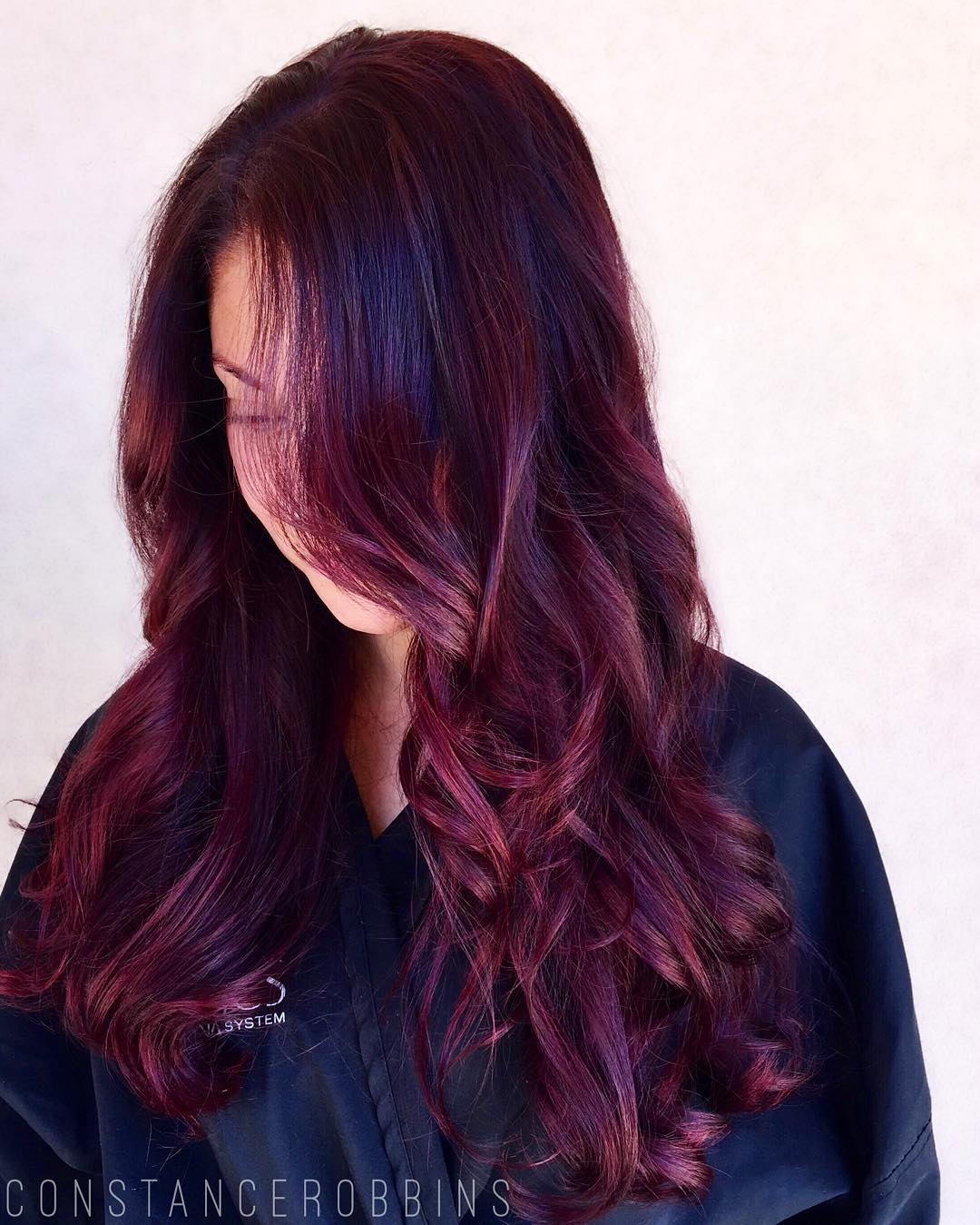 Burgundy Balayage On Black Hair