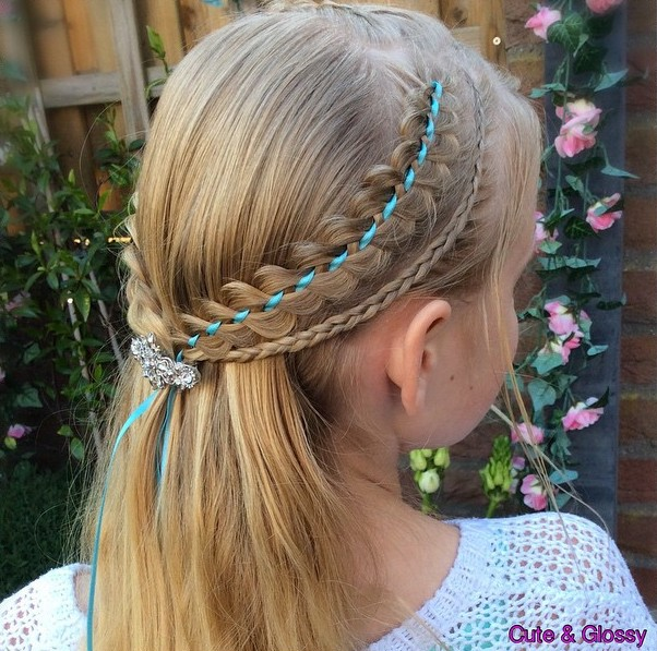 hair cut styles for little girls 40 cool hairstyles for on any occasion 3986 | 5 half up hairstyle with ribbon braids