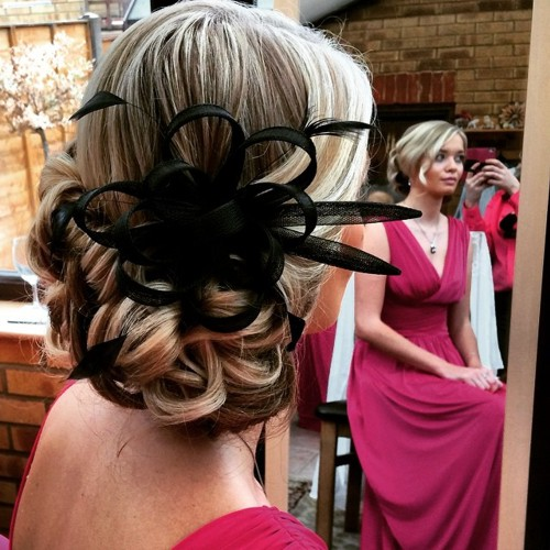 low blonde curly updo for prom