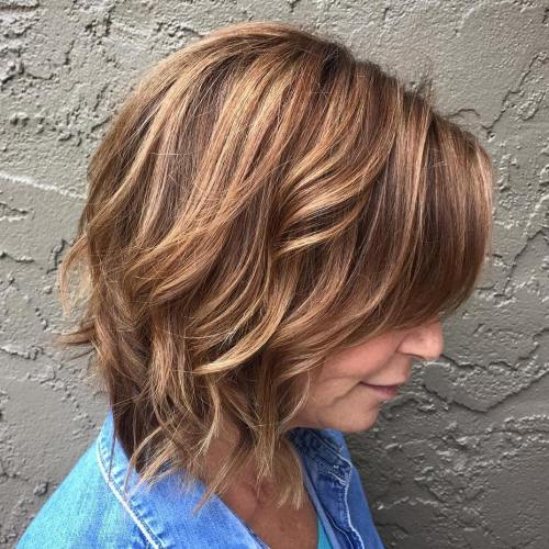 Over 50 Brown Bob With Caramel Highlights