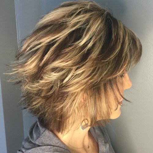 Over Short Feathered Hairstyle For Thin Hair