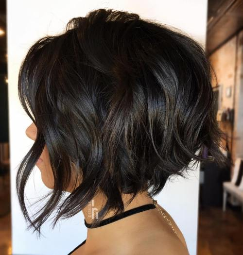 Uneven Messy Black Bob