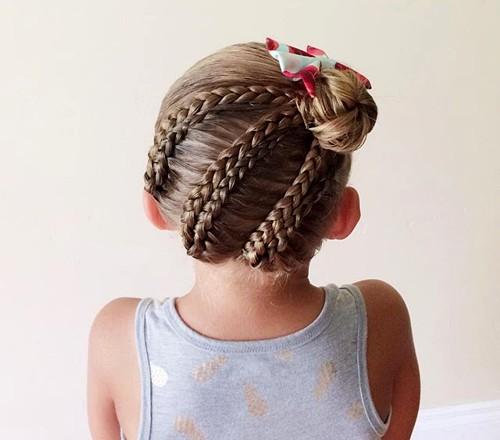 braids into bun girls' hairstyle