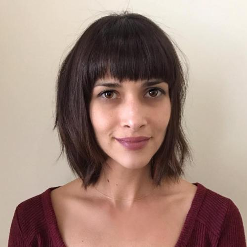 Brown Choppy Bob With Straight Bangs