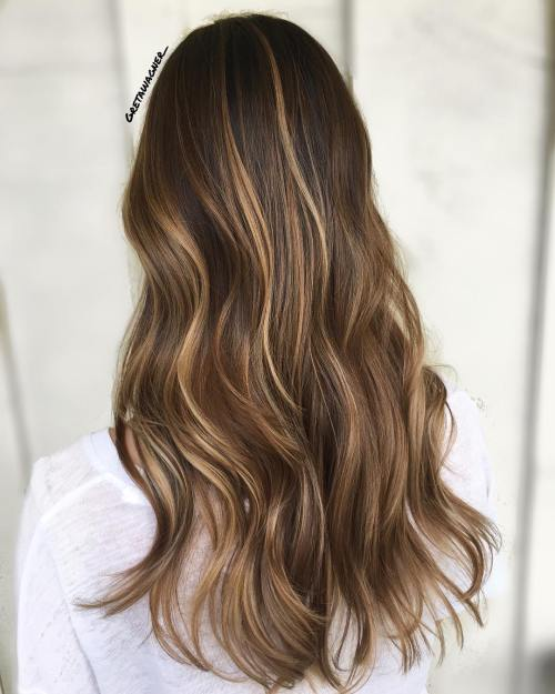 Long Brown Hair With Thin Highlights