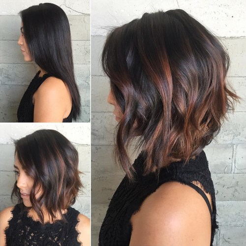 Black and Copper Balayage Bob