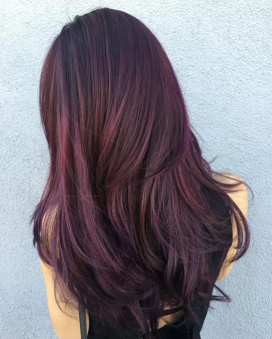 Fashion style Hair Black with red tones for lady