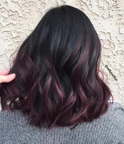 Deep Burgundy Highlights For Black Hair