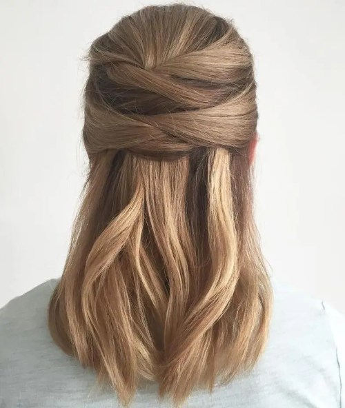 Half Updo For Thick Straight Hair