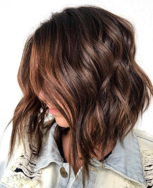 Wavy Angled Chocolate and Caramel Lob