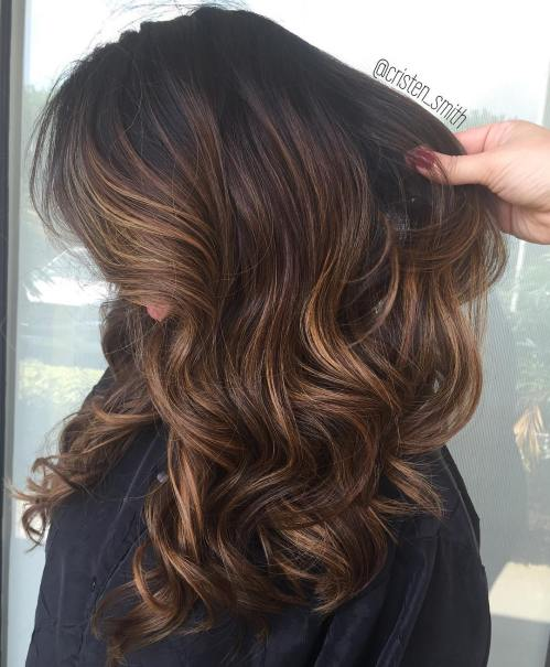 Light Brown Balayage Hair with Black Roots