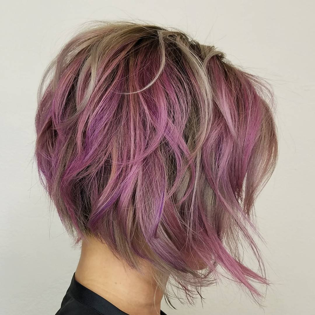 40 layered bob styles modern haircuts with layers for any occasion pastel purple layered bob urmus Gallery