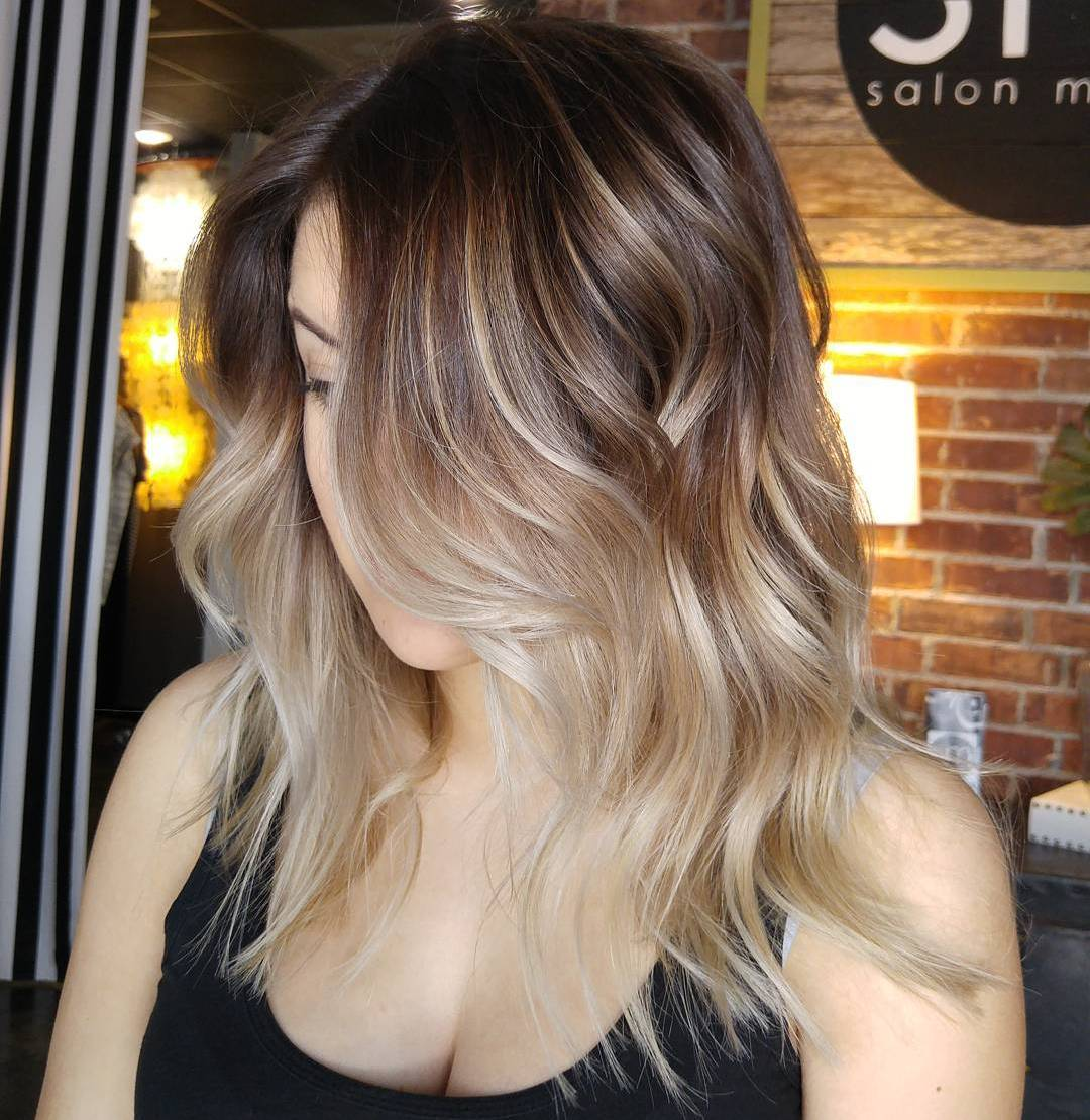 Fashion week Hair Black with blonde tips ombre pictures for lady