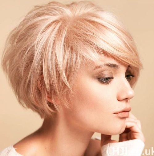 short tousled blonde bob