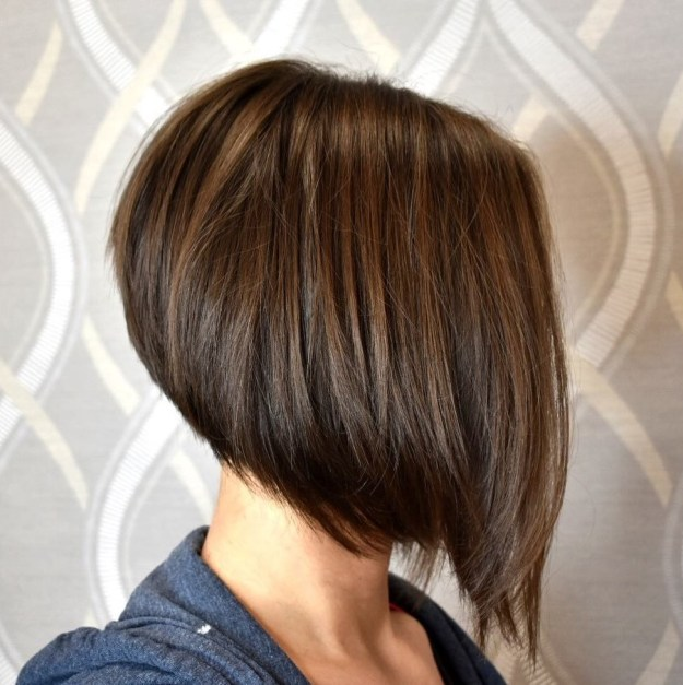 Warm Brown Layered Angled Bob