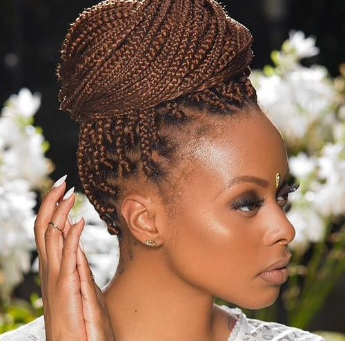 formal top bun updo for box braids