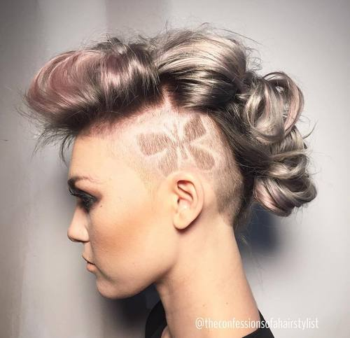 long hair mohawk with undercuts