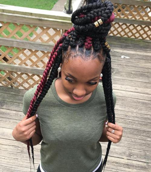 Black And Burgundy Jumbo Braids