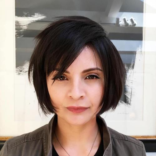 Side-Parted Chopped Bob With Bangs