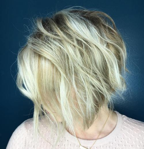 Blonde Tousled Bob With Root Fade