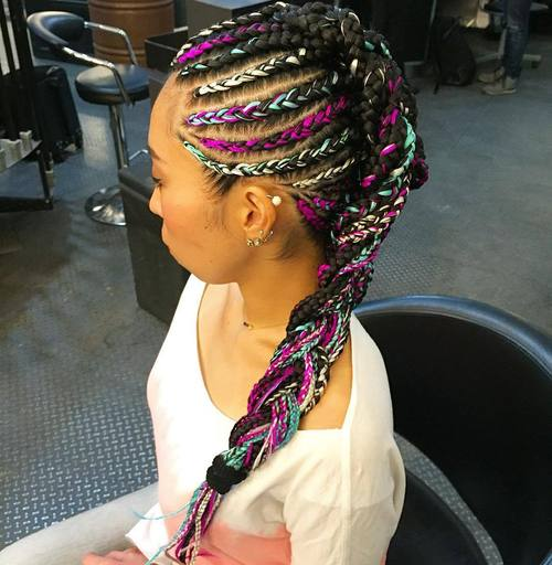 mohawk braid with colorful extensions