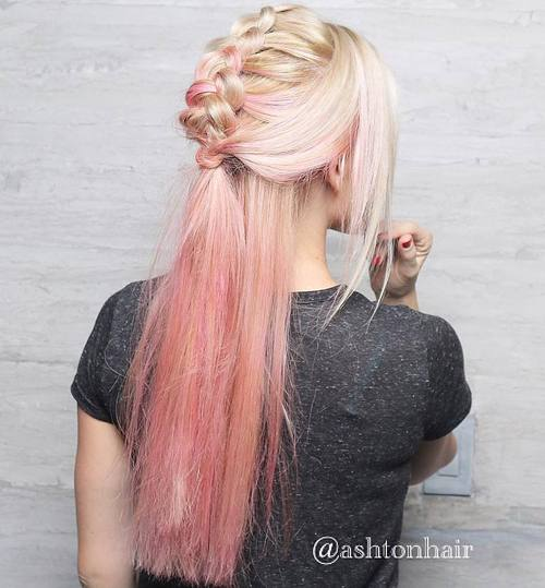 half up mohawk braid for pastel pink ombre