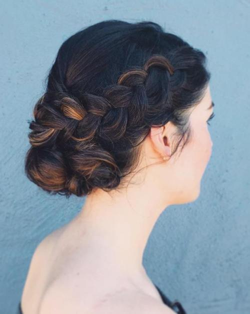 Side Braid And Low Bun Updo