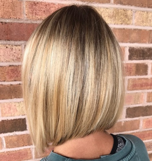 Sleek Blonde Balayage Lob