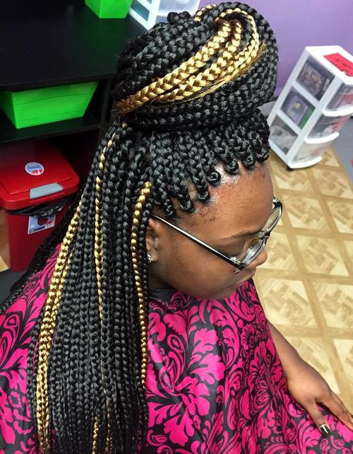 bun half updo for highlighted box braids