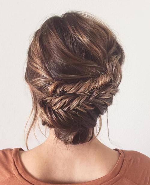60 updos for thin hair that score maximum style point fishtail braid updo pmusecretfo Image collections