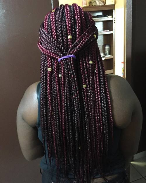 half up ponytail for box braids with beads