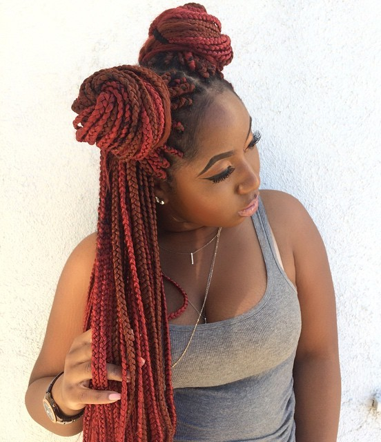 Two Pigtail Bun For Box Braids