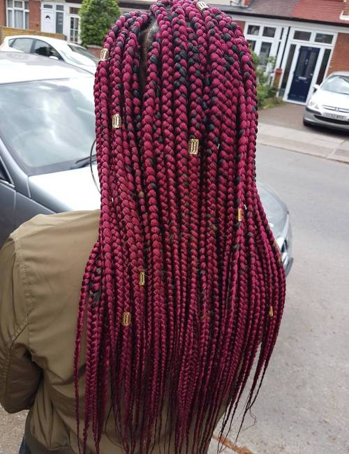 Long Burgundy Box Braids