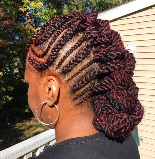 African American braided mohawk
