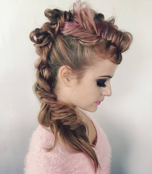 funky fishtail braid mohawk