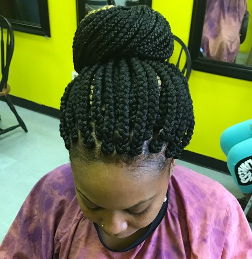 Bun Updo For Box Braids