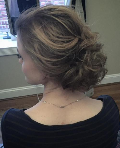 Low Curly Messy Updo For Fine Hair