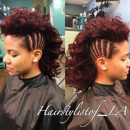 curly Mohawk with side cornrows