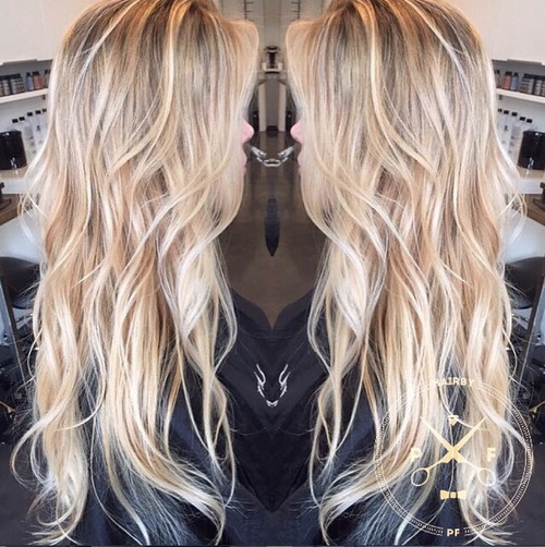 Long hair blonde curly skinny