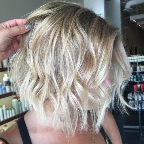 Wavy Blonde Balayage Bob For Fine Hair