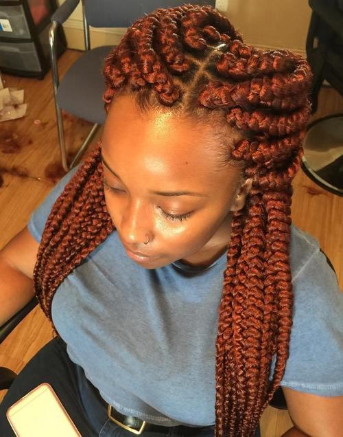 Box braids with blonde highlights