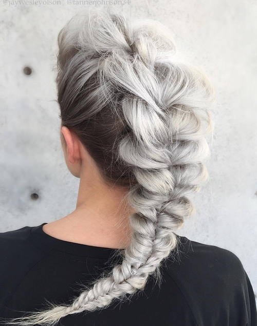 gray messy mohawk braid