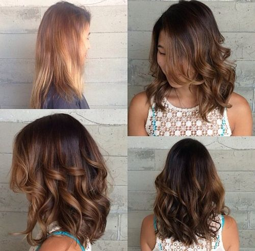 medium curly hairstyle with dimensional highlights
