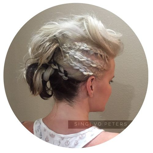 black and white edgy Mohawk updo