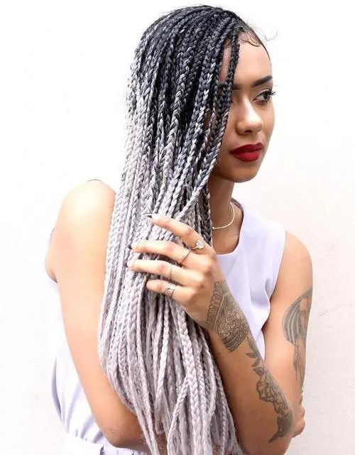 black to blonde ombre long box braids